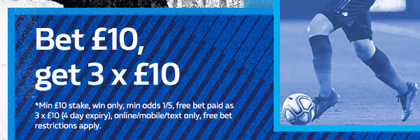 Bet £10 and get 3 x £10 free bets